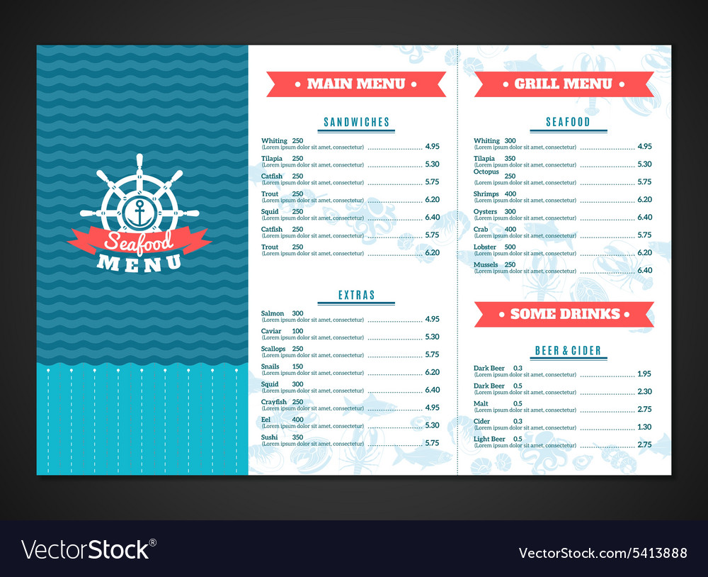 seafood menu template royalty free vector image
