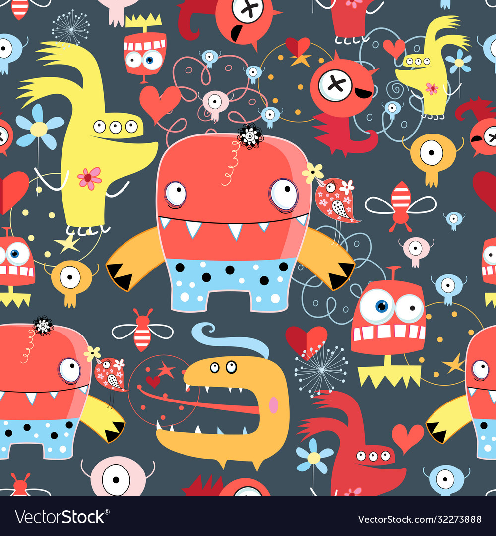 Seamless graphic pattern amusing monsters