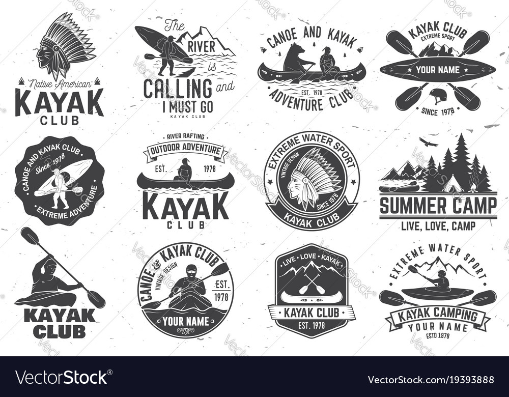 Set canoe and kayak club badges vector