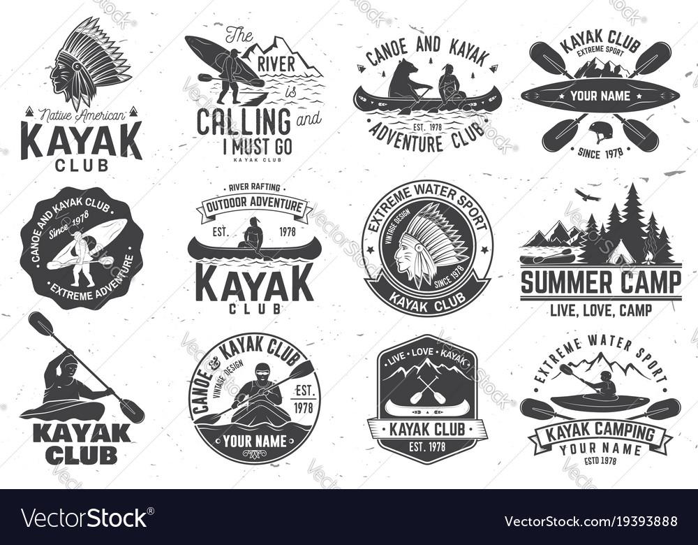 Set of canoe and kayak club badges