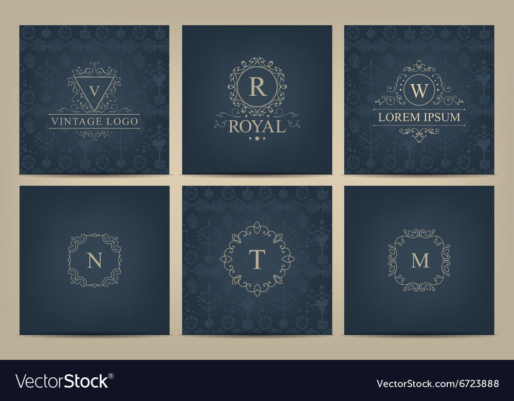 Set of cards with monogram logos frames