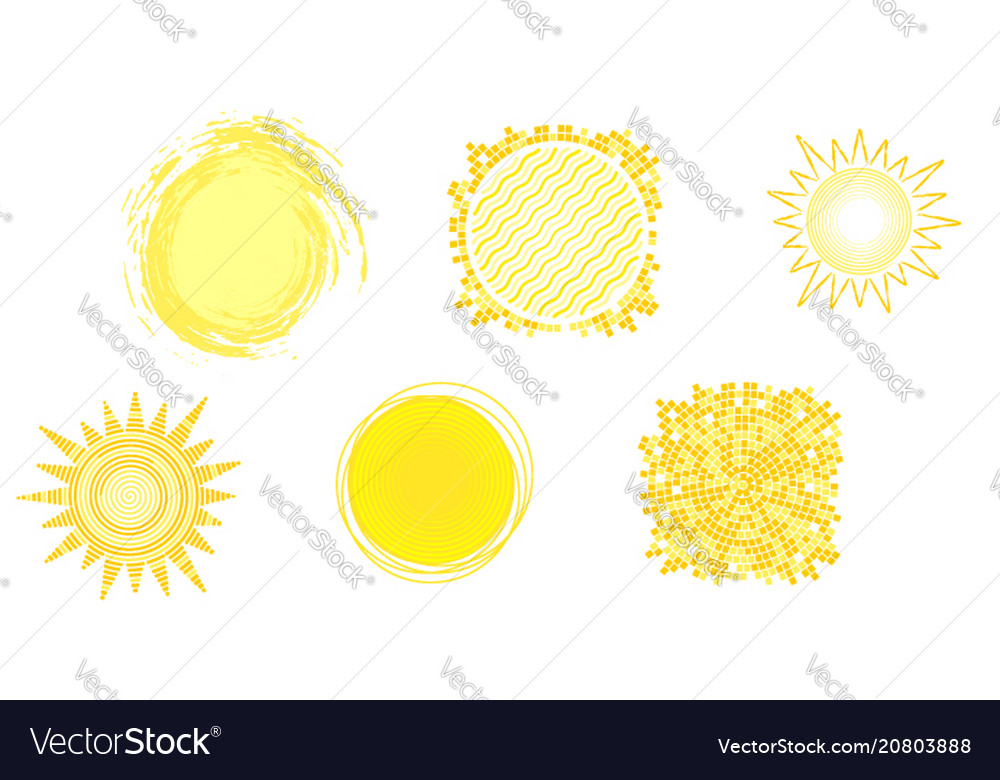 Set of yellow hot icons of sun isolated on white