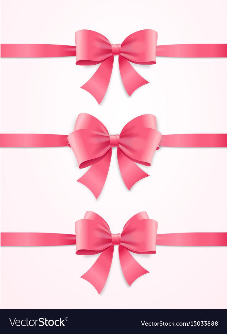Silk pink ribbon and bow set vector image