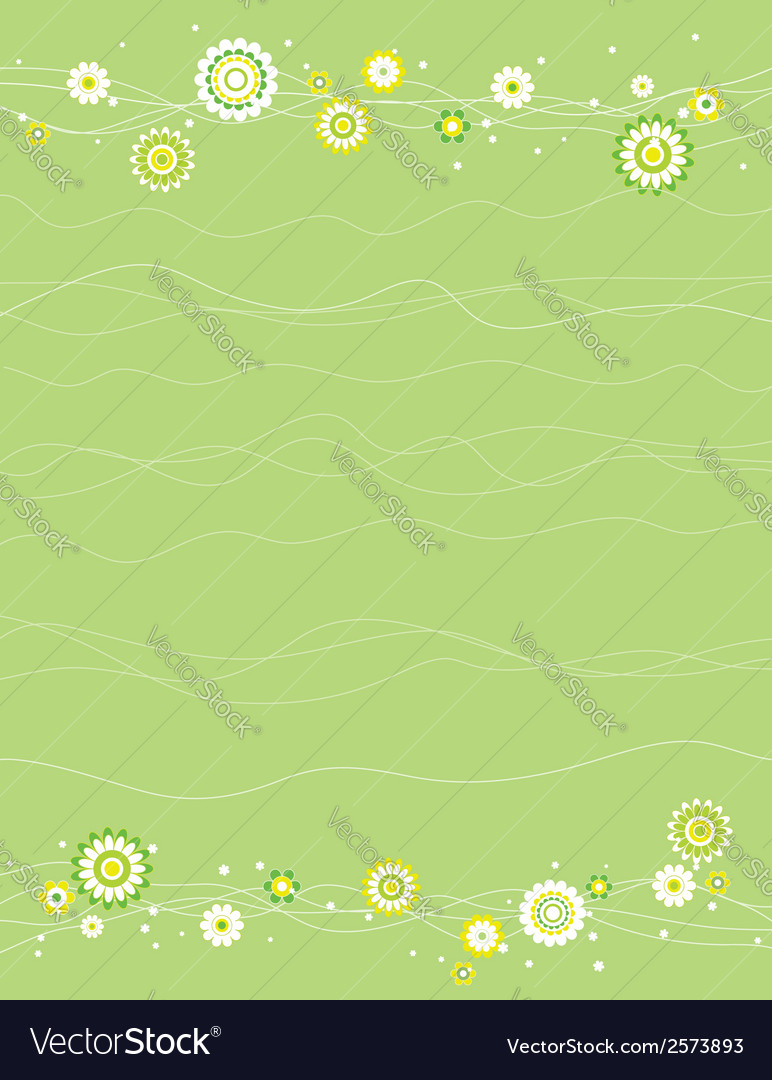 Background With White And Green Flowers Royalty Free Vector