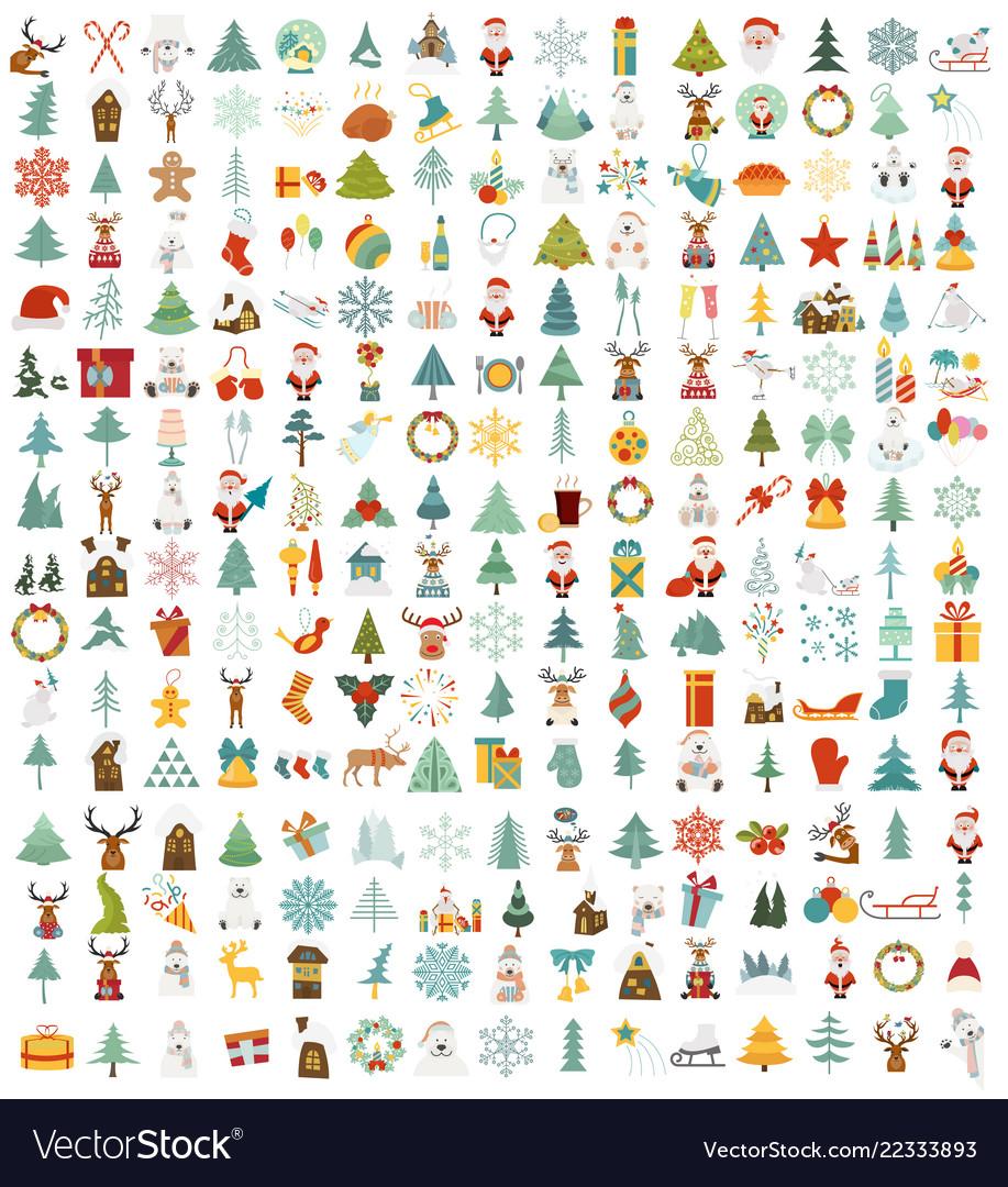 Christmas new year holidays icon big set flat