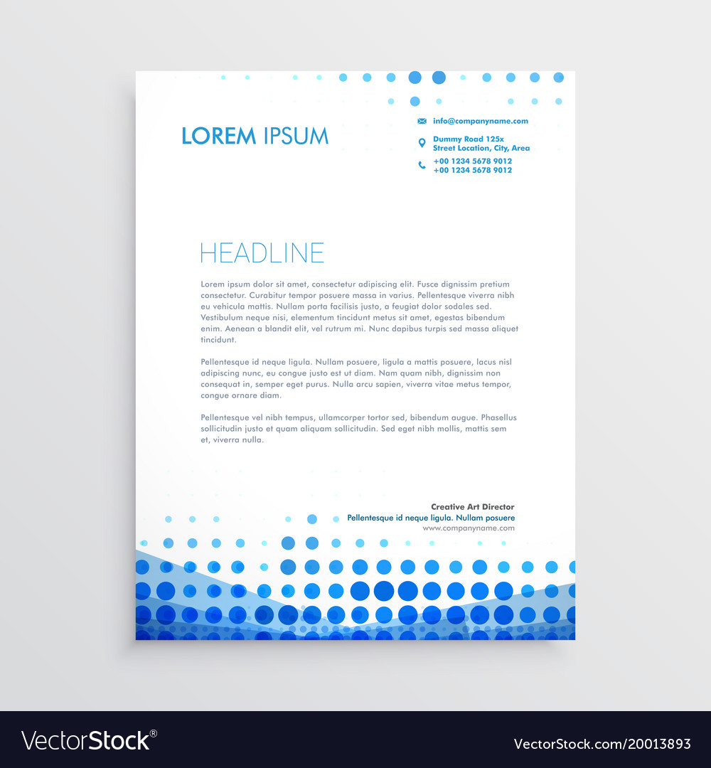 A Creative Corporate Letterhead For Dealing Business With: Creative Blue Business Letterhead Design Vector Image