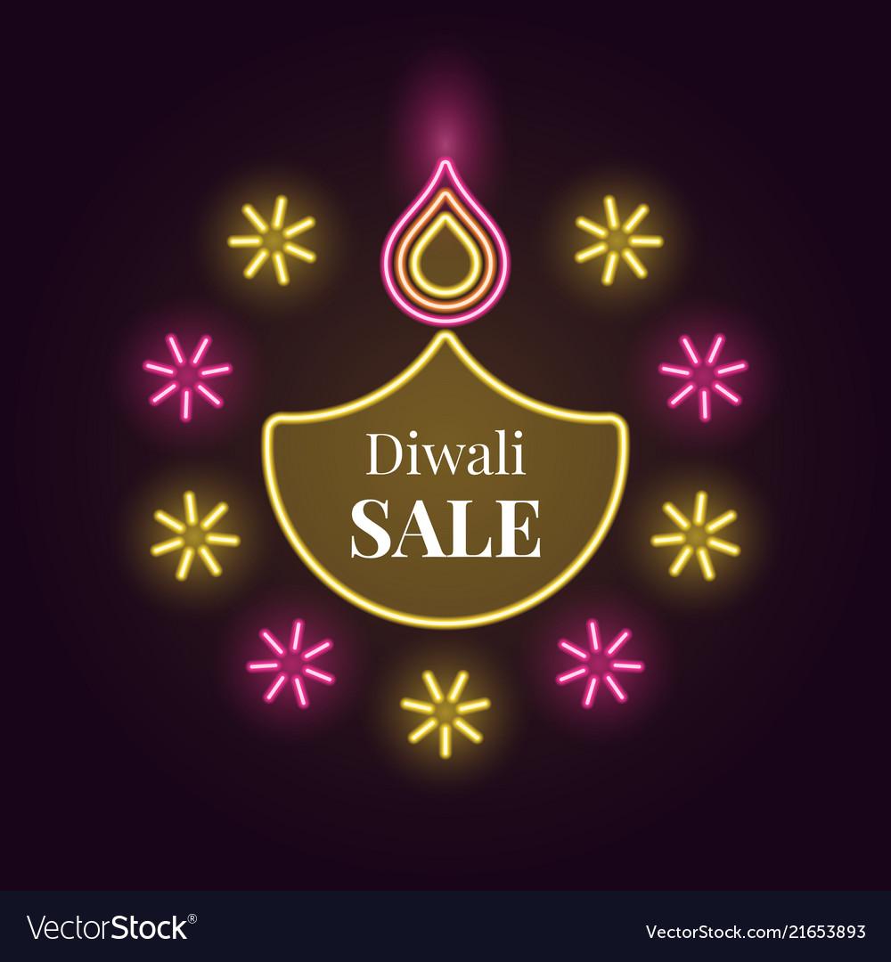 Diwali diya sale banner in bright neon style