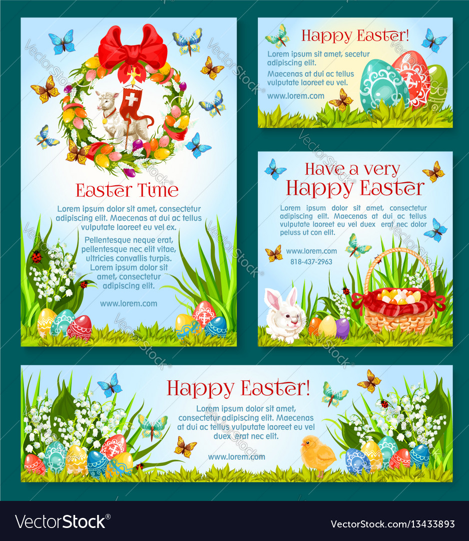 Easter Holiday Greetings Banner Template Design Vector Image