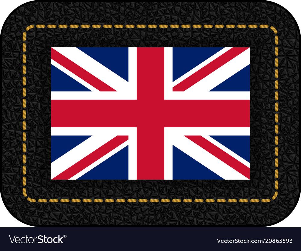 Flag of united kingdom icon on black leather