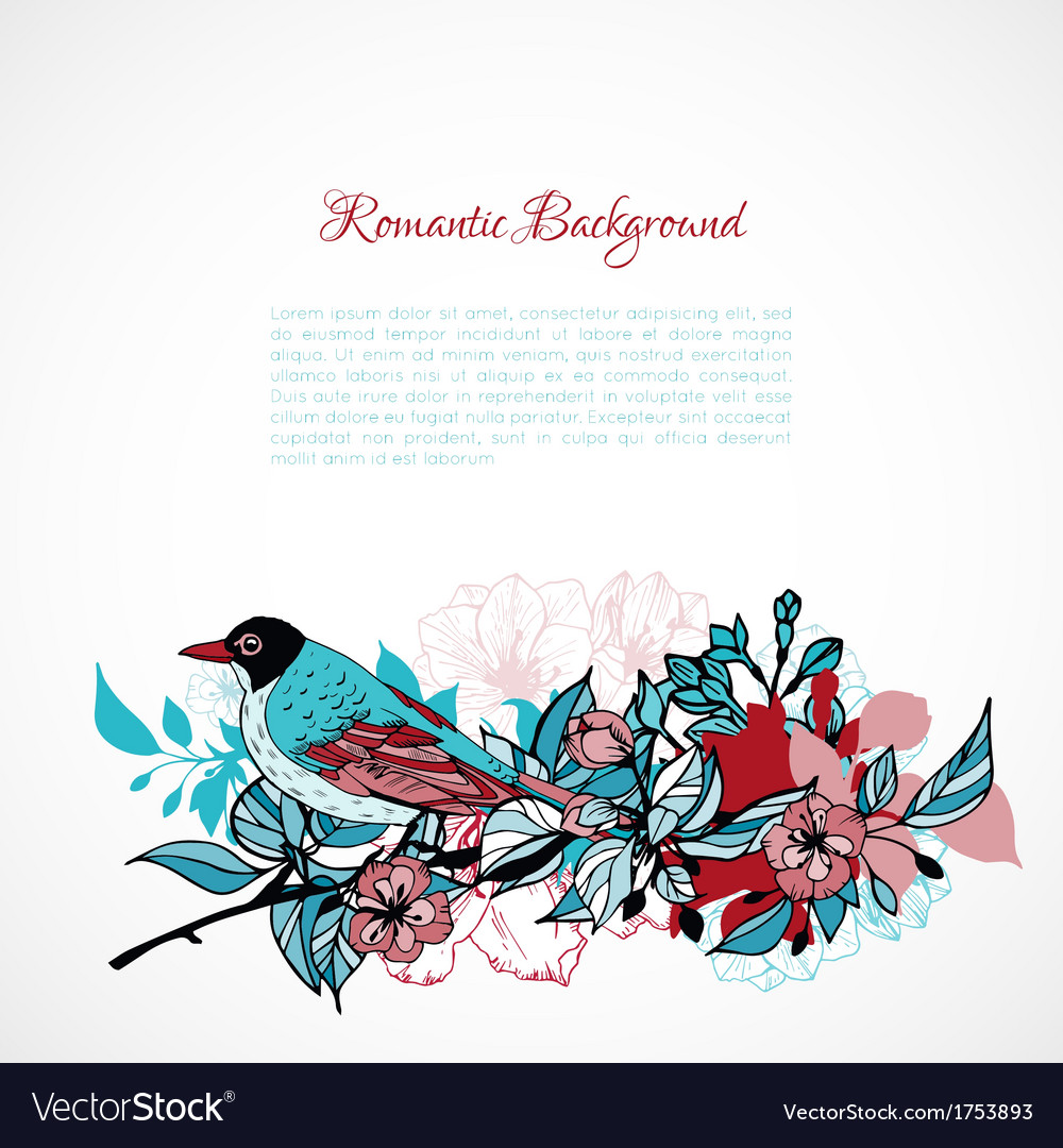 Floral romantic background vector image