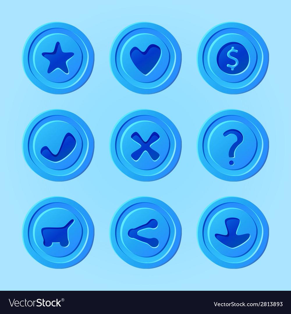 Game ui menu blue elements - set for mobile game