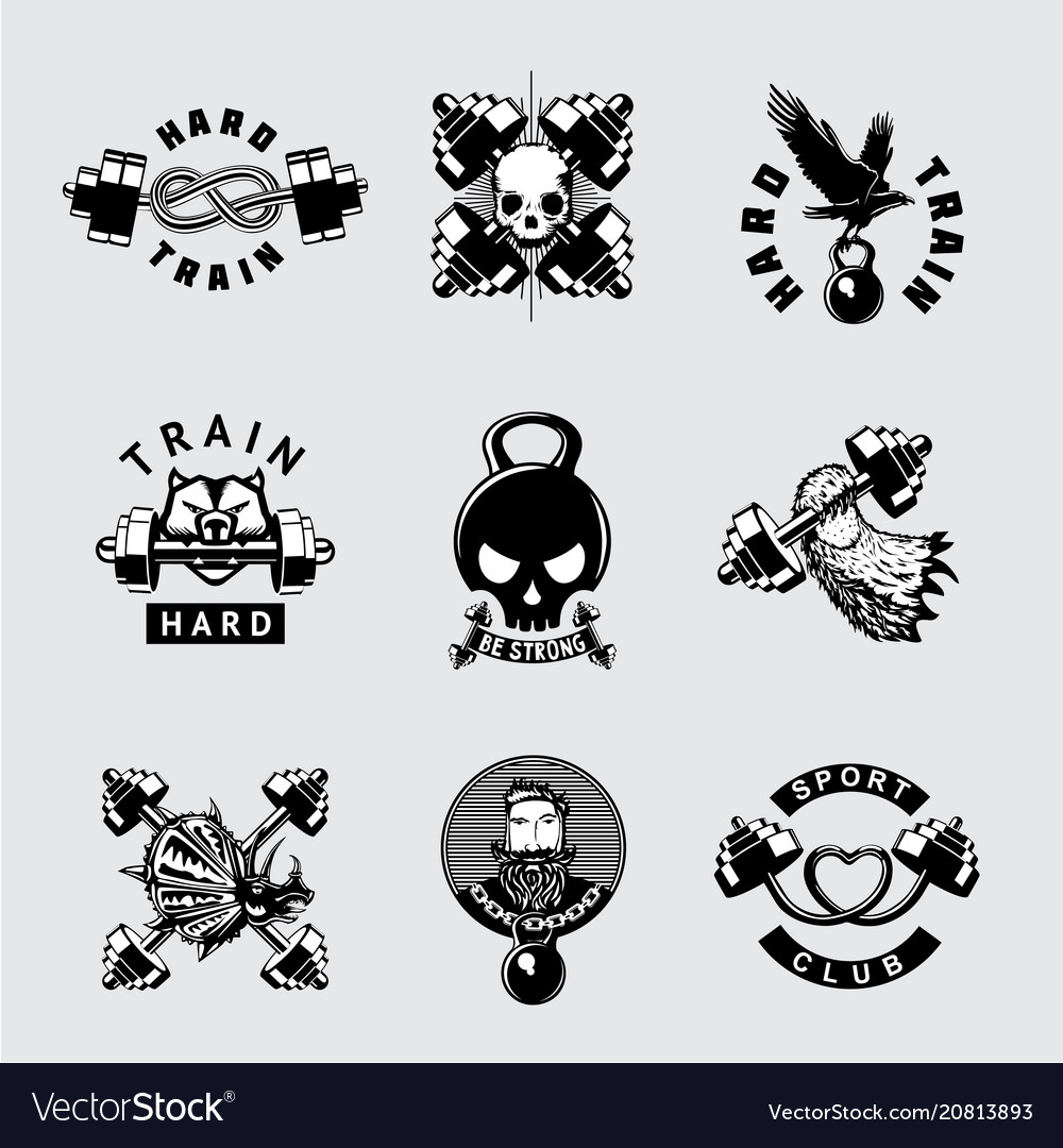 Gym and fitness club vintage icon set