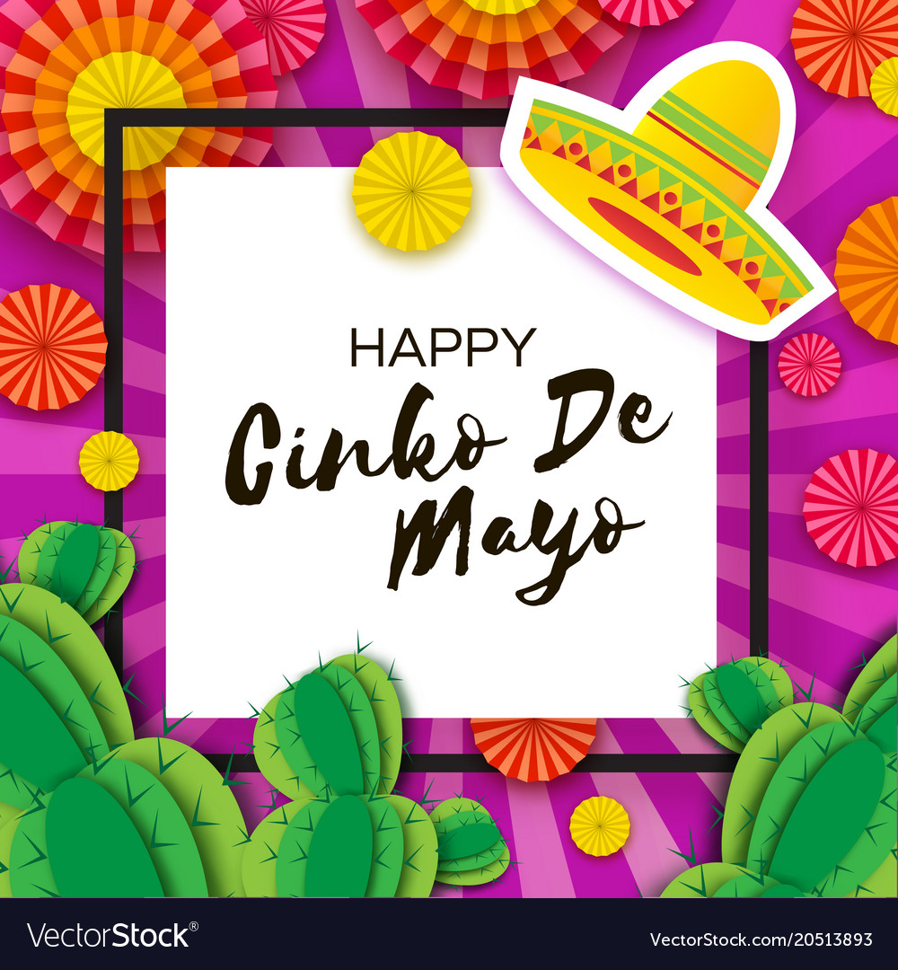 Happy cinco de mayo greeting card colorful paper vector image m4hsunfo