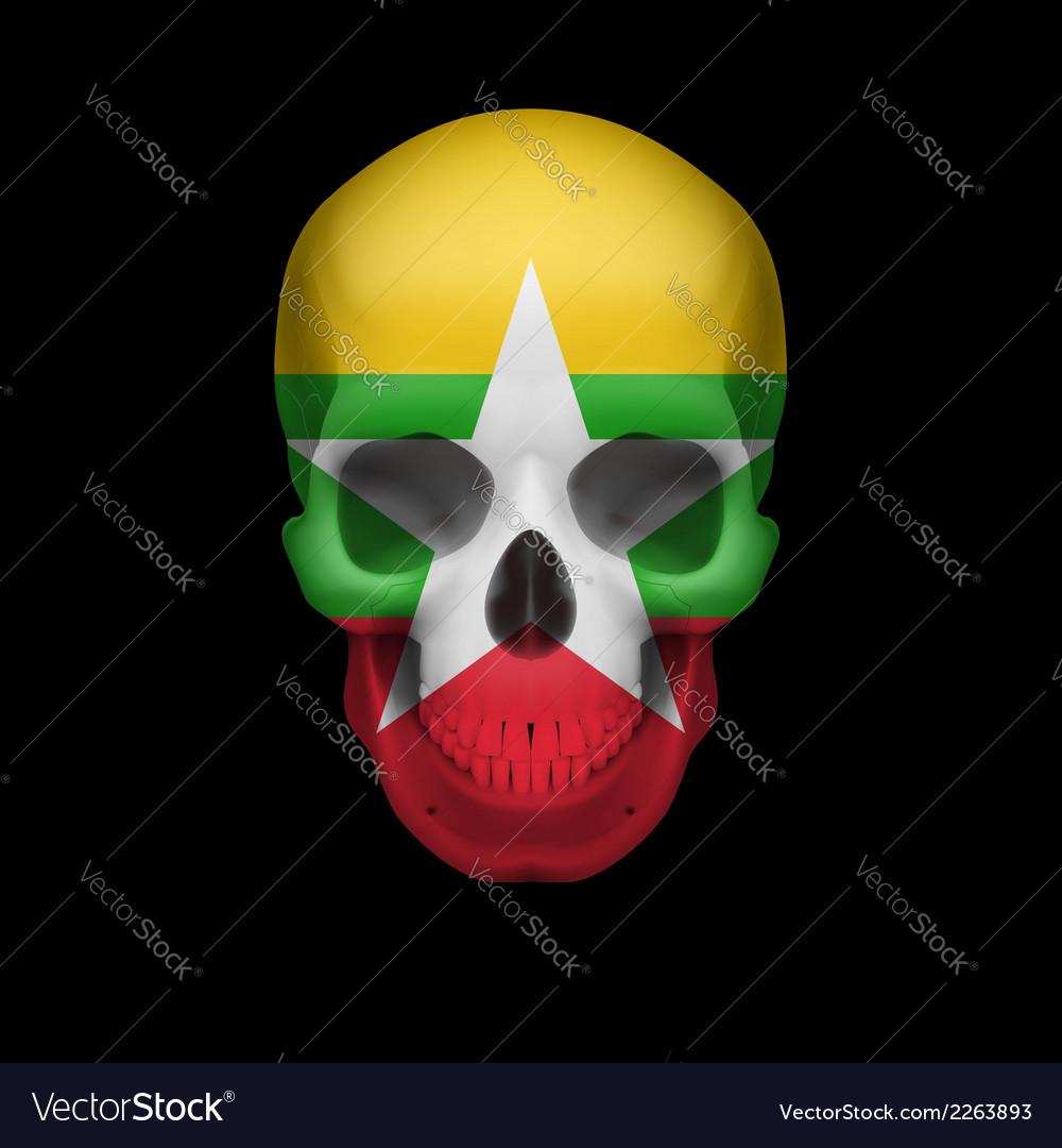 myanmar flag skull royalty free vector image vectorstock