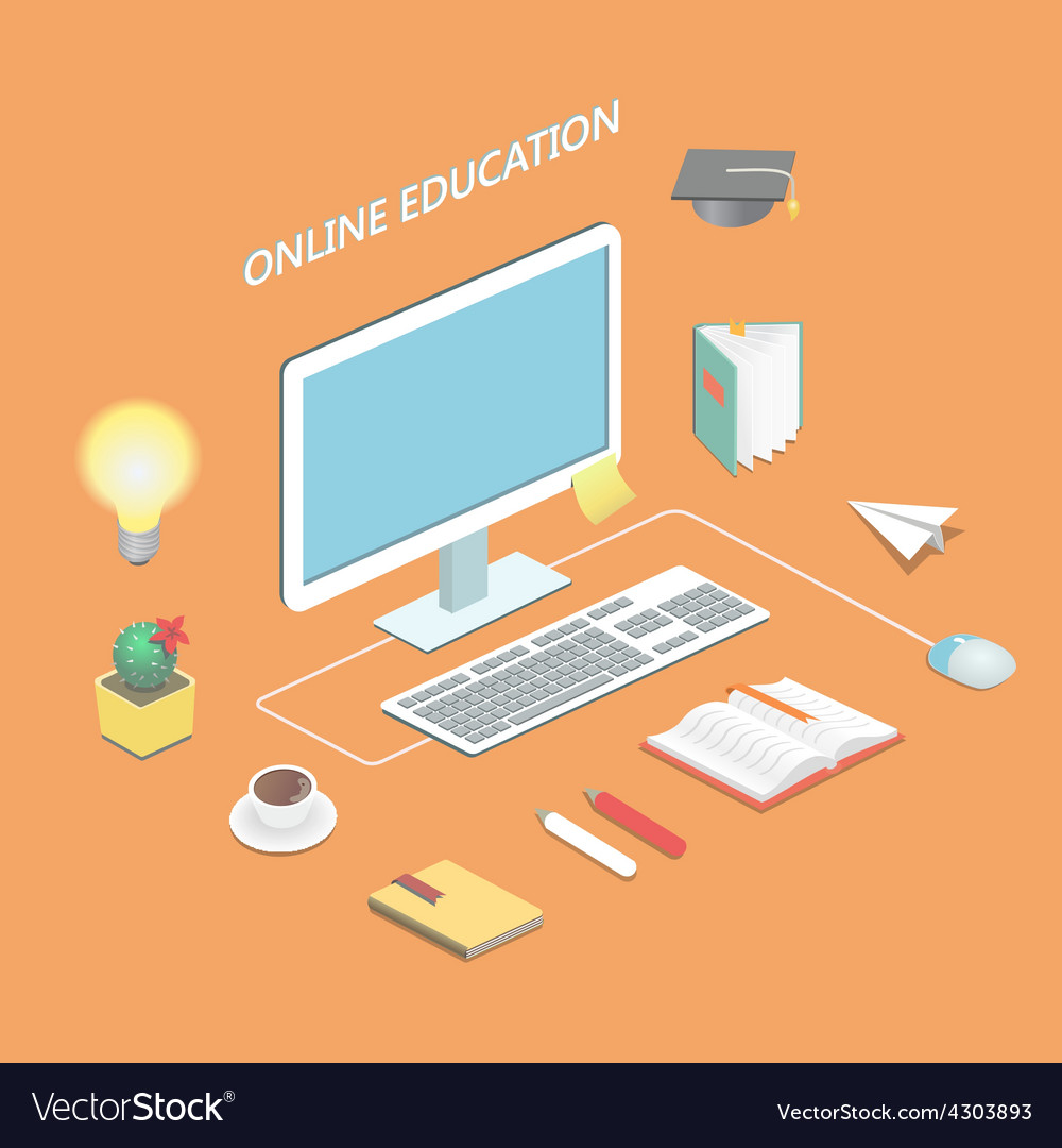 Online education e-learning science Isometric