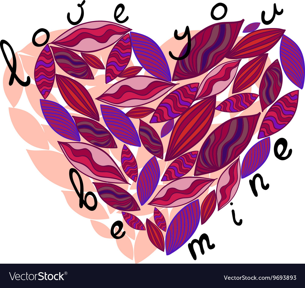 Pink heart from leaves Love you be mine
