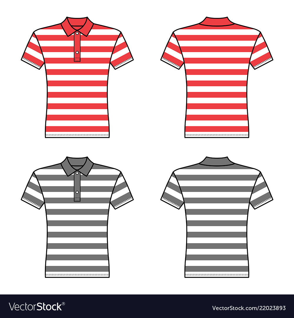Polo striped t shirt man template front back