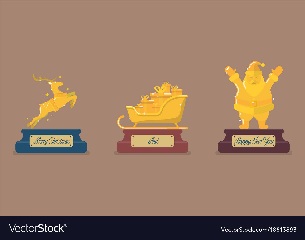 Set of gold christmas trophy