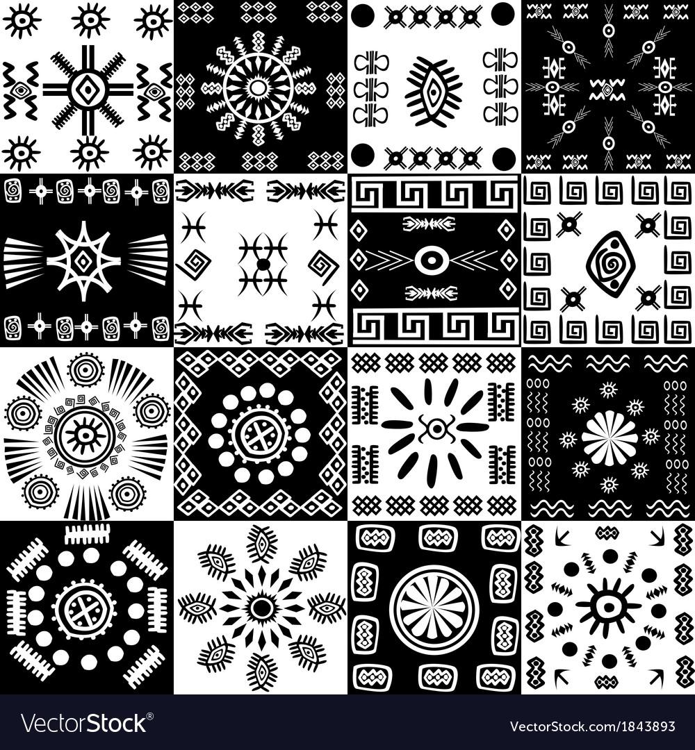 Tribal background set of ethnic elements vector image