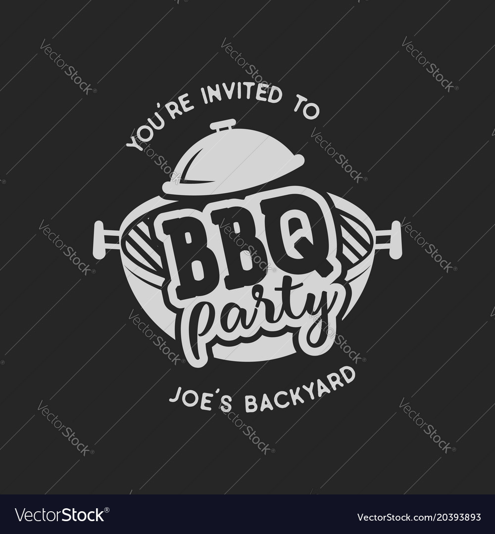 Vintage hand drawn bbq party barbecue grill badge vector image