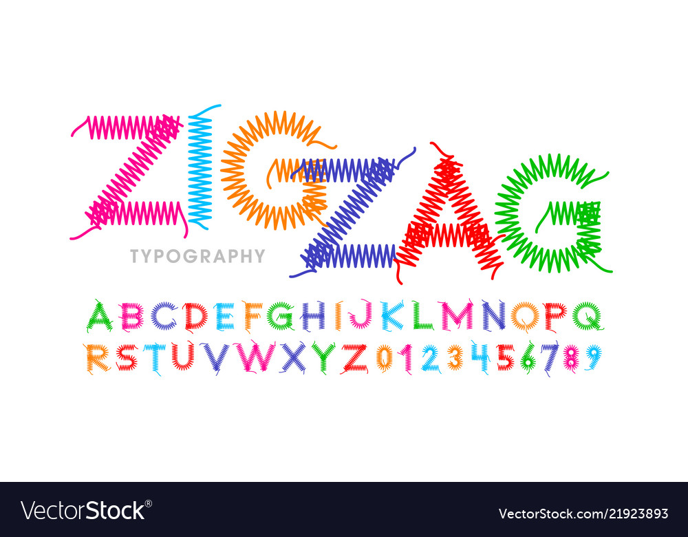 Zigzag font stitched with thread embroidery font