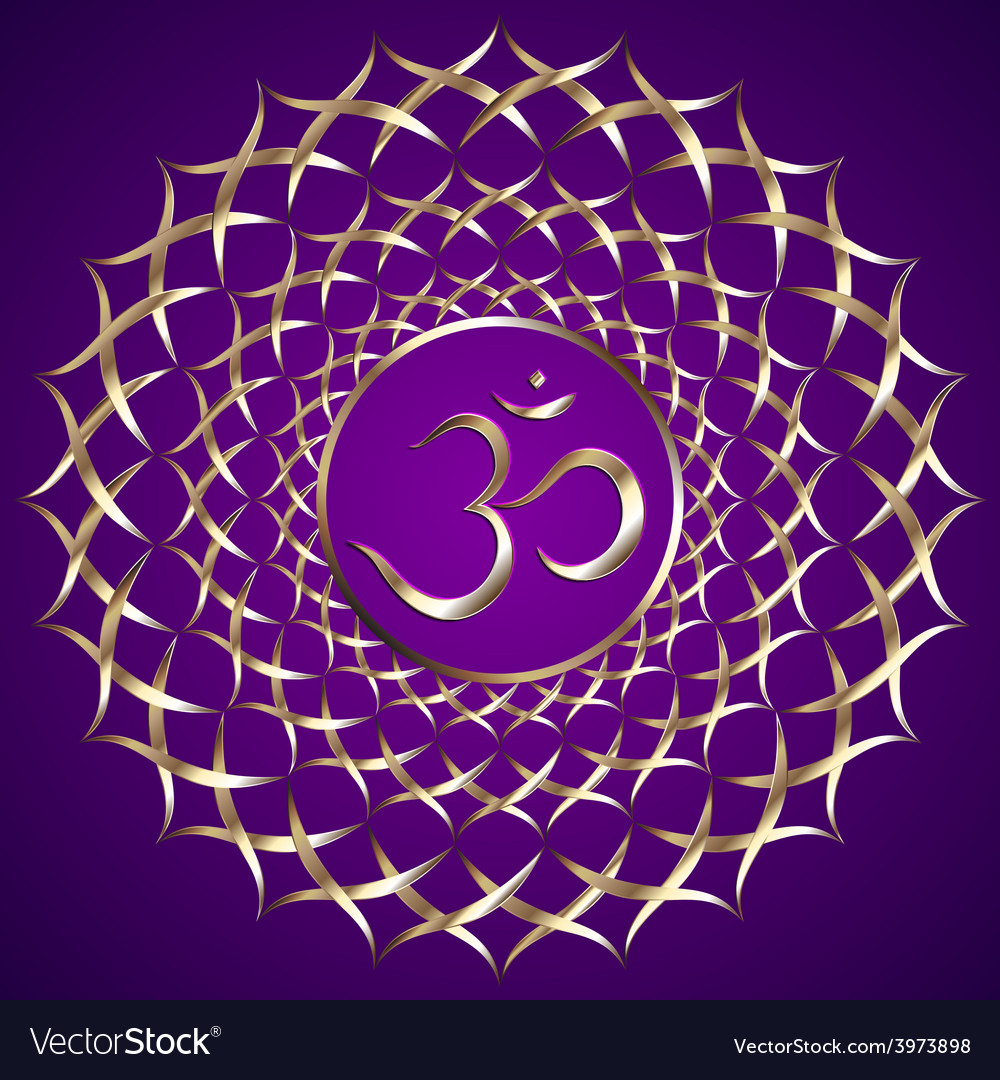 Abstract purple background with om mantra