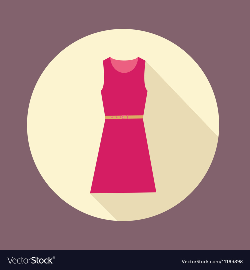 Flat design with shadow Icon Women red dress