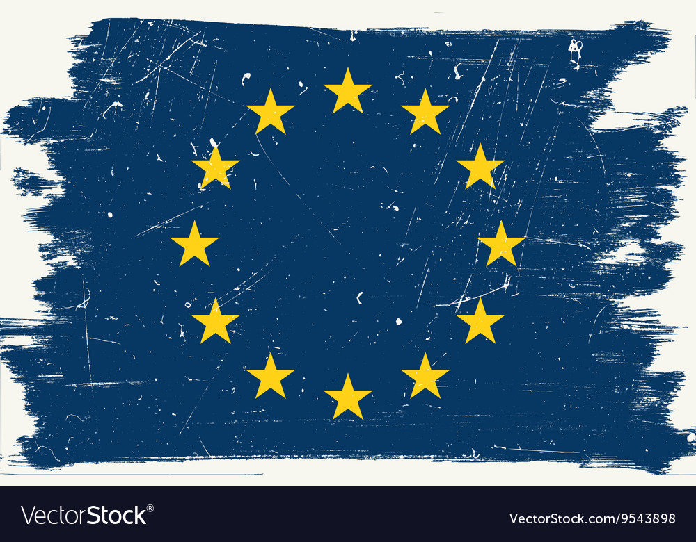 Grunge European flag vector image
