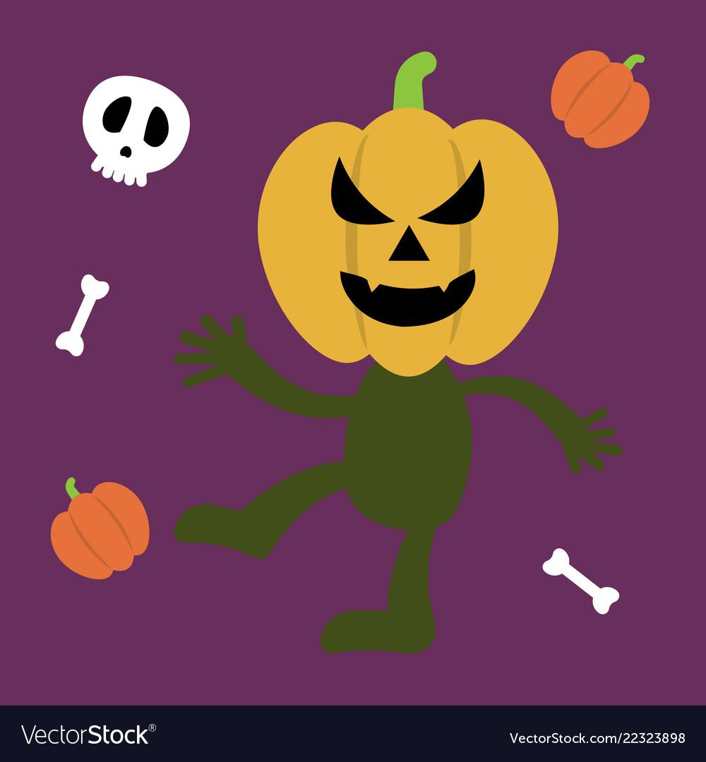 Halloween monster set of icons pumpkin ghost