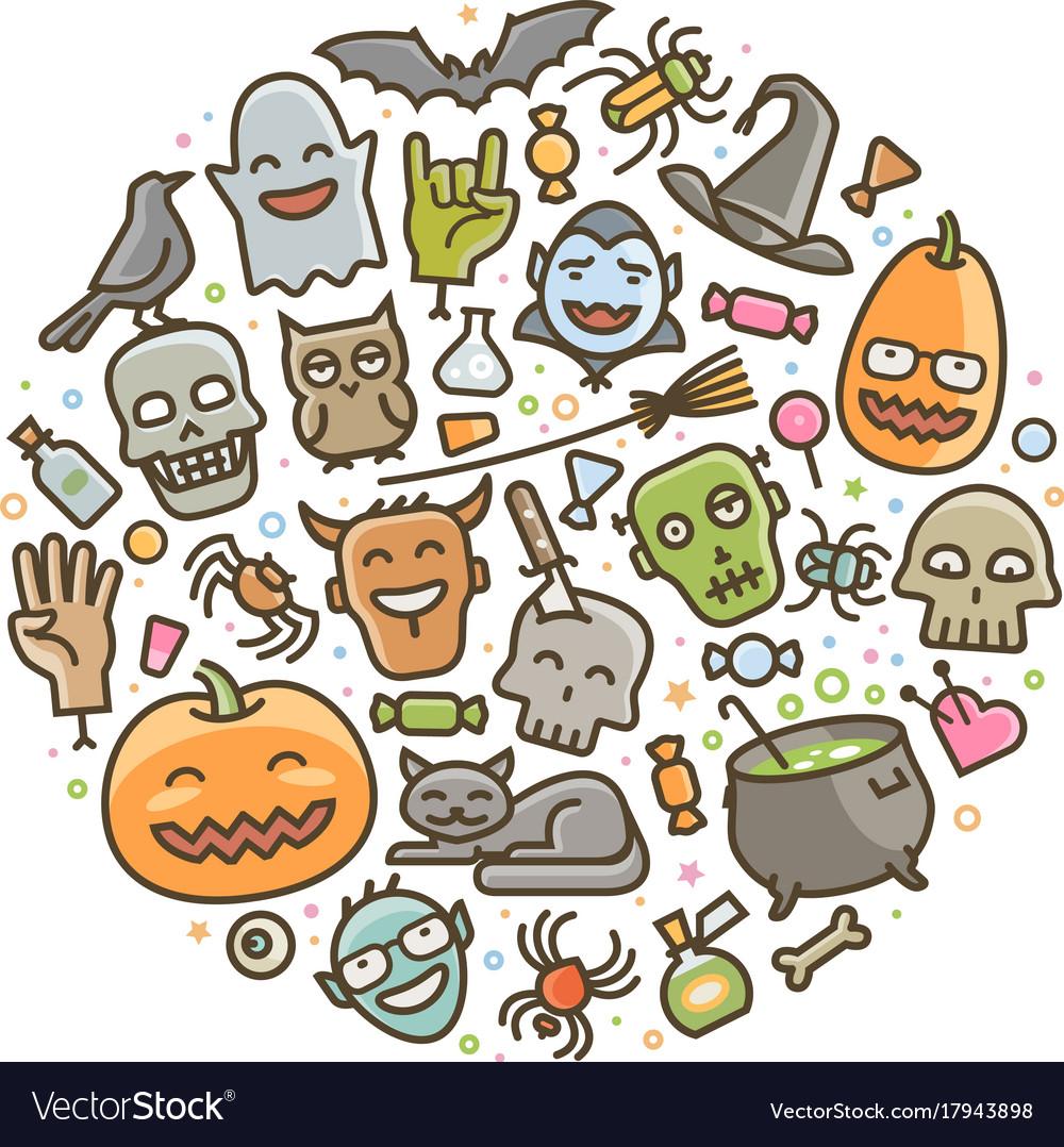 Halloween set of icons holiday symbol cartoon