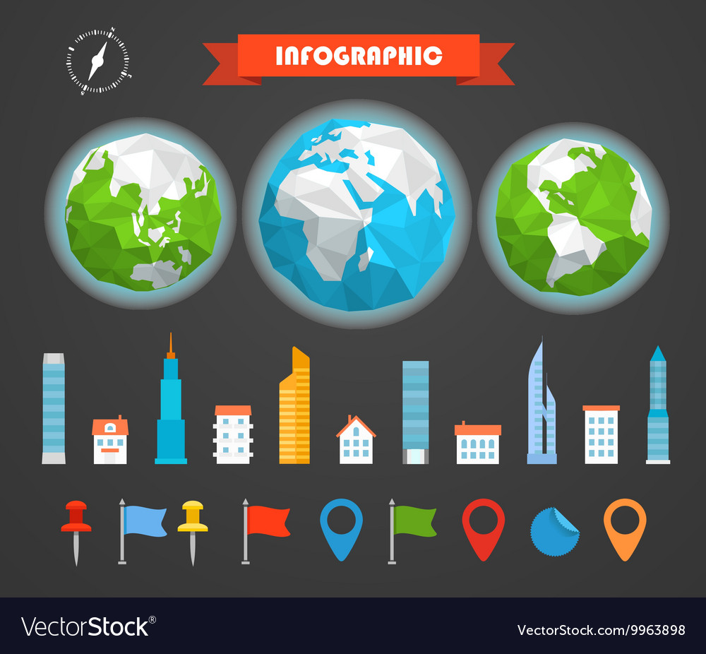 Infographic elements template Statistic charts vector image