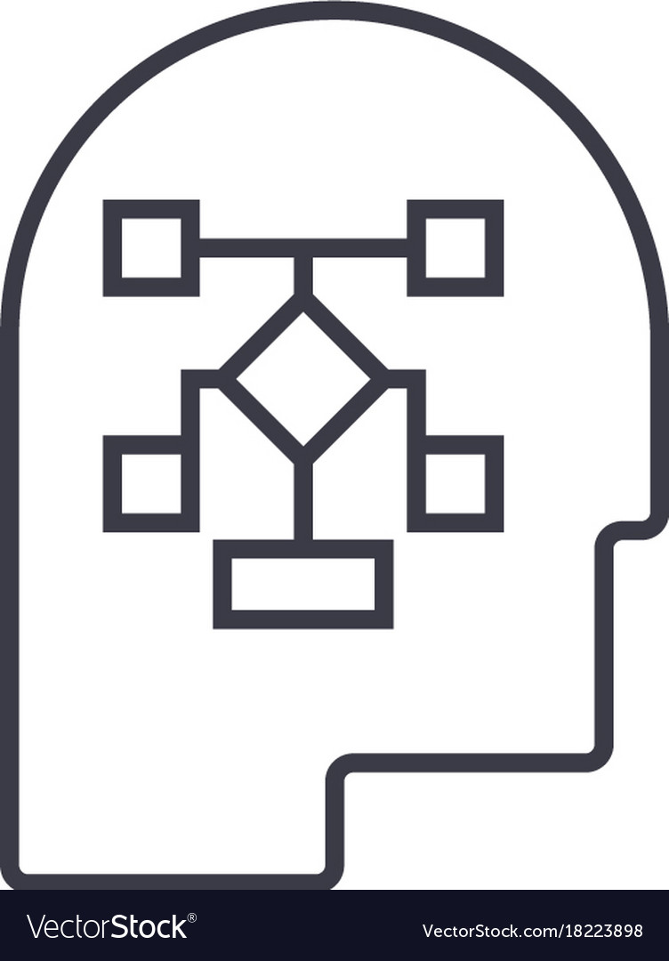 Planning process head linear icon sign symbol