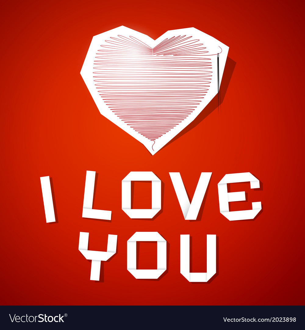 Red String Heart with Needle and I Love You Title vector image