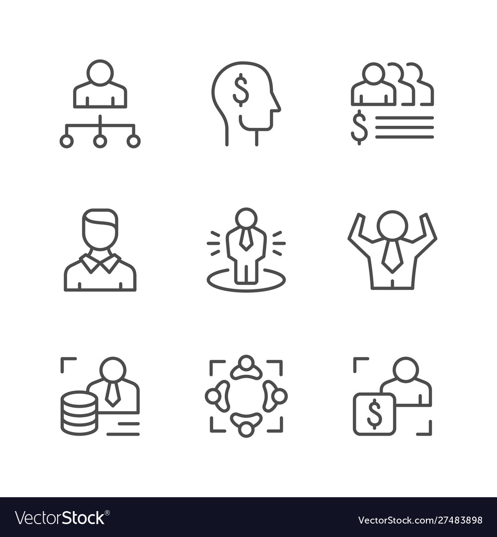 Set line icons business people