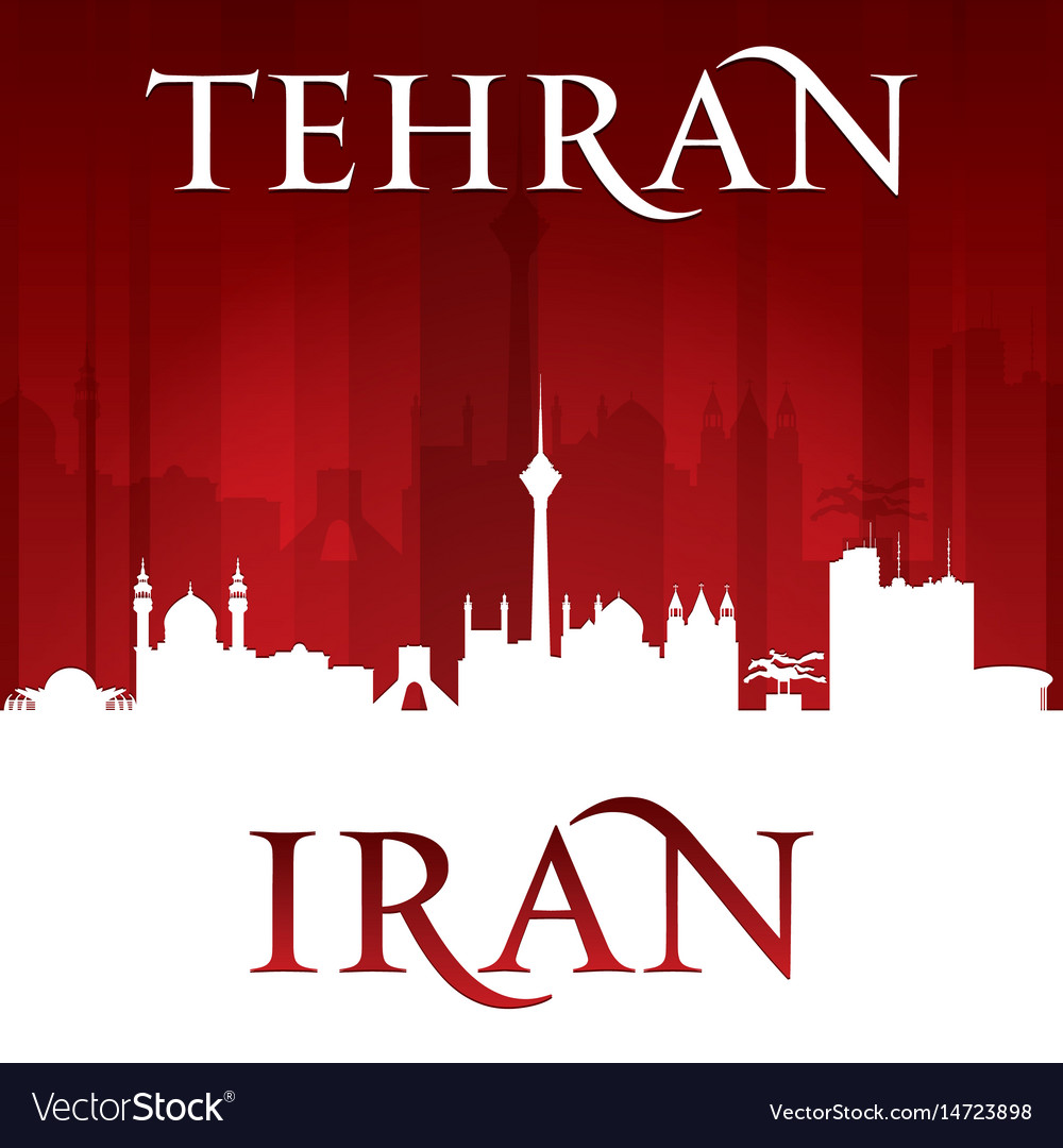 Tehran iran city skyline silhouette red background