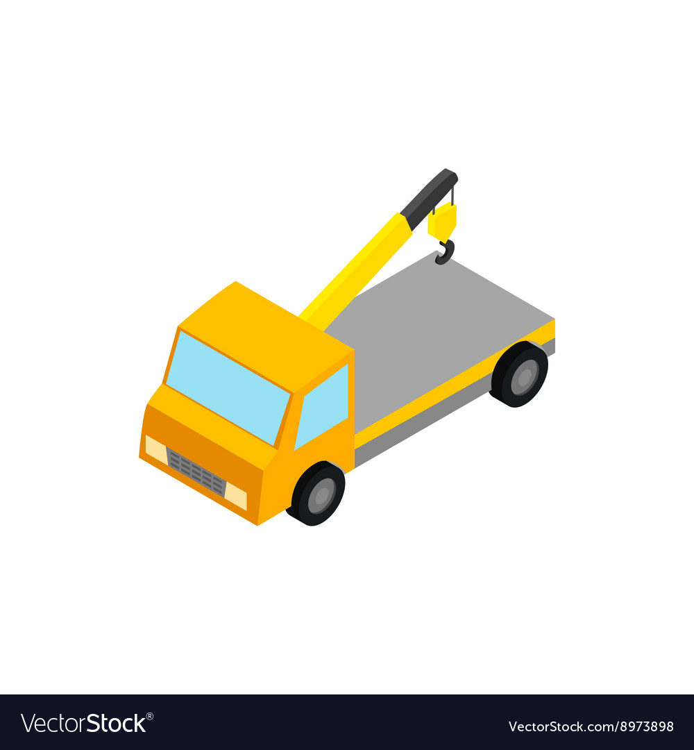 Tow truck icon isometric 3d style vector image