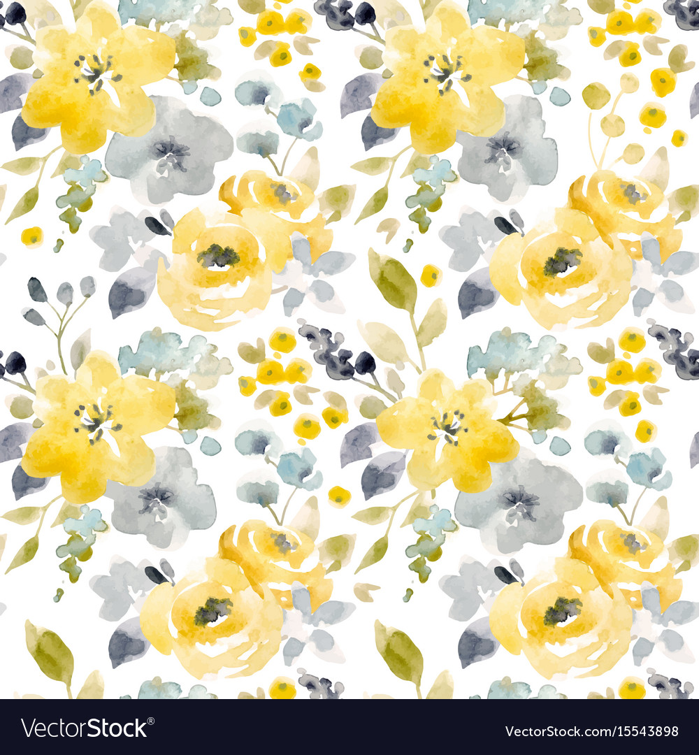 Watercolor Floral Seamless Pattern Royalty Free Vector Image