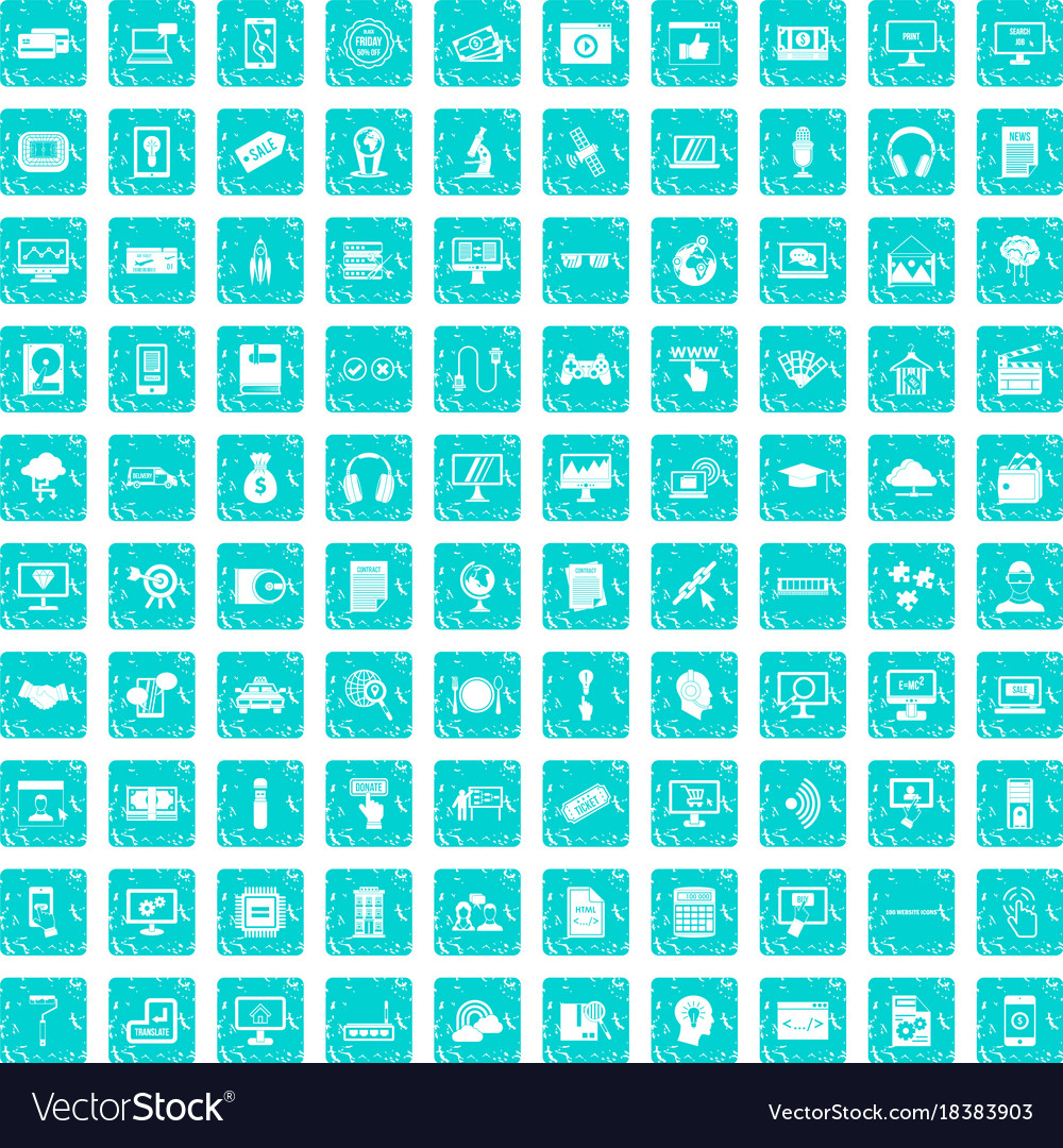 100 website icons set grunge blue vector image
