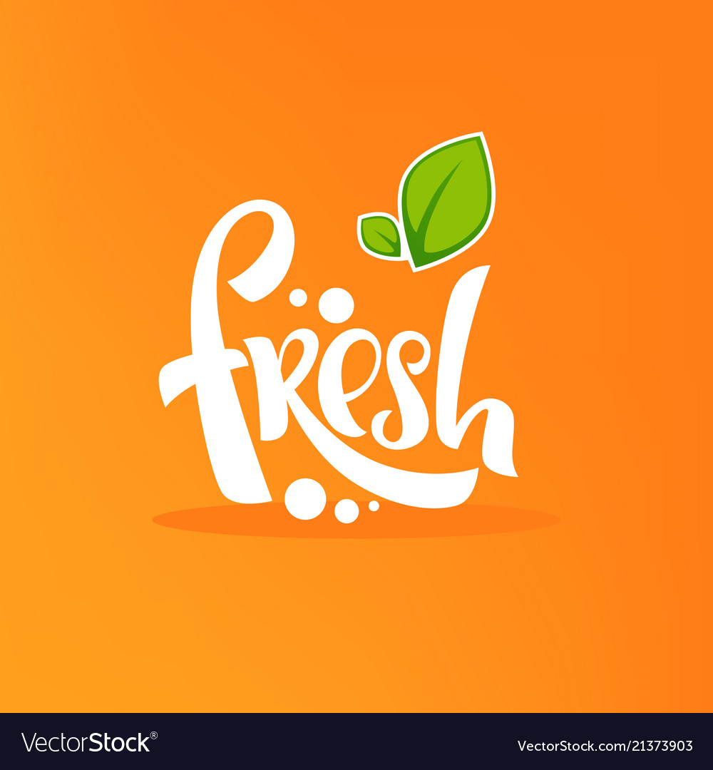 Bright sticker emblem and label for citrus fruit