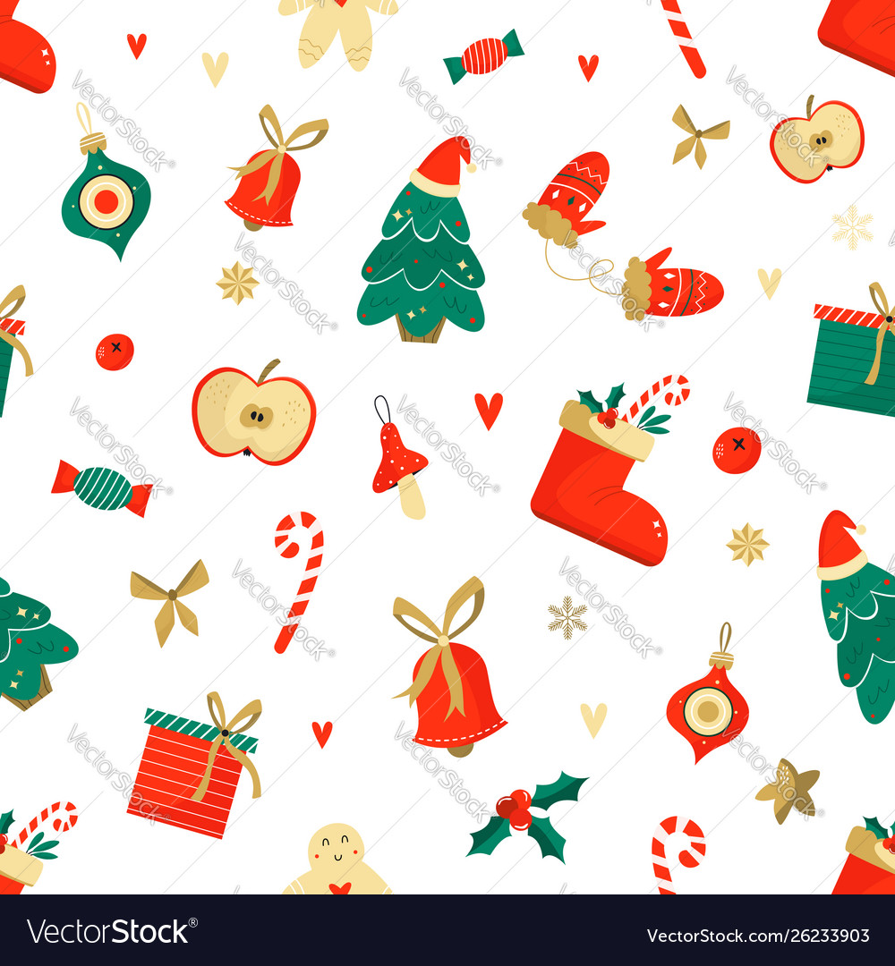 Christmas seamless pattern with funny elements