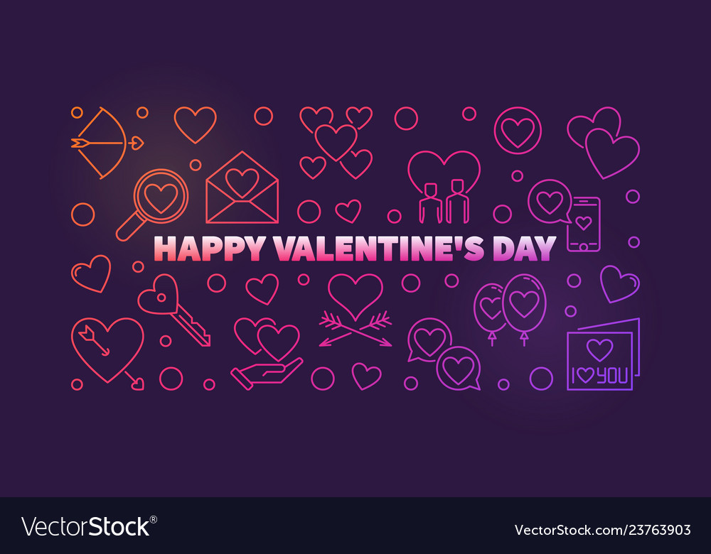 Happy valentines day colored outline banner