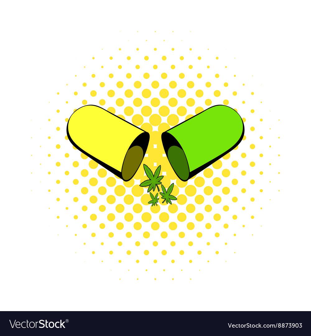 Marijuana pill icon comics style