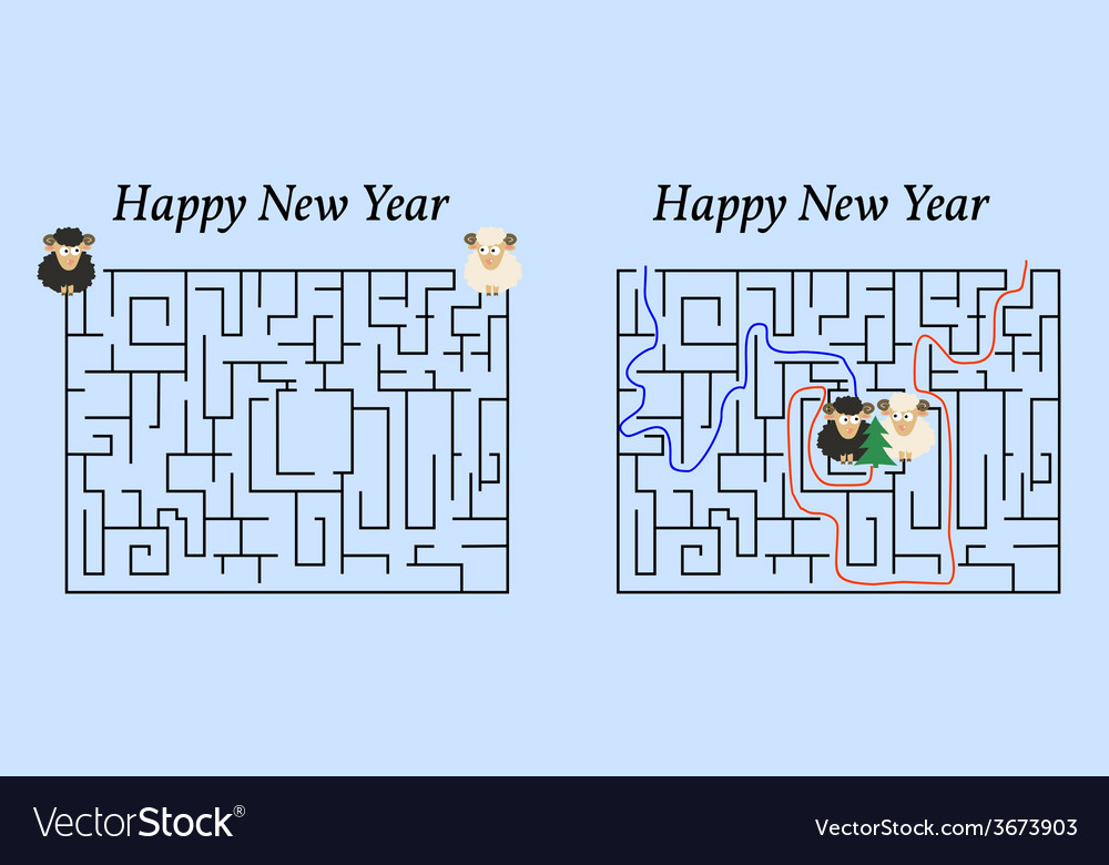 Maze Game for 2015 New Year Help Two Sheep to Find