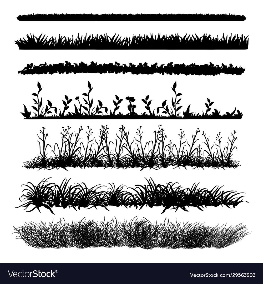 Set black grass silhouettes