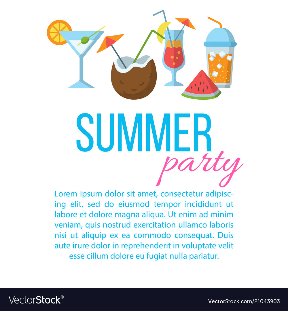 Summer party flat poster