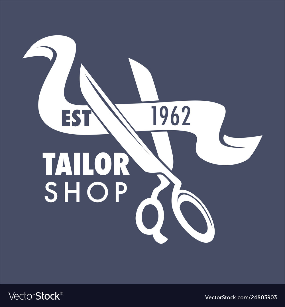 Tailor shop isolated icon scissors and ribbon