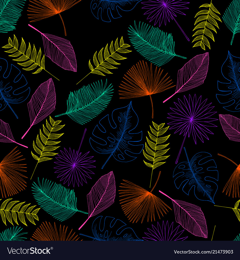 Tropical palm leaf outline colorful seamless