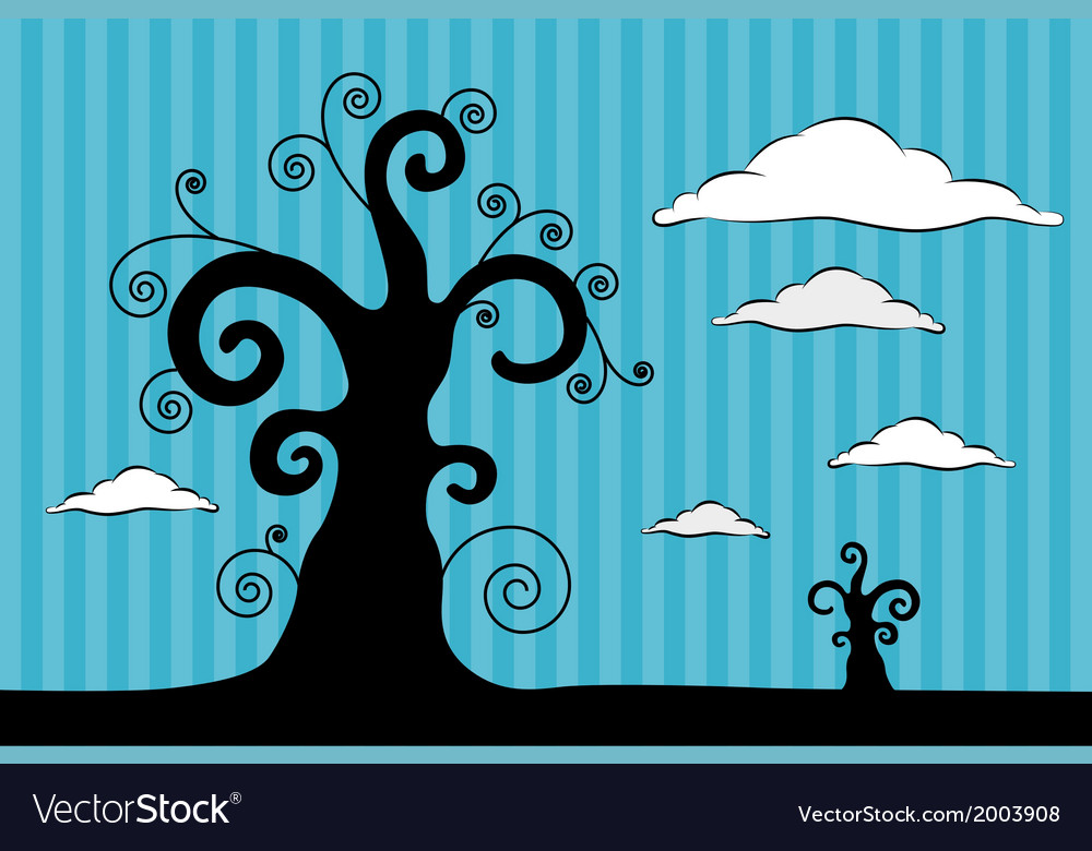 Abstract Black Trees with Clouds on Blue Car