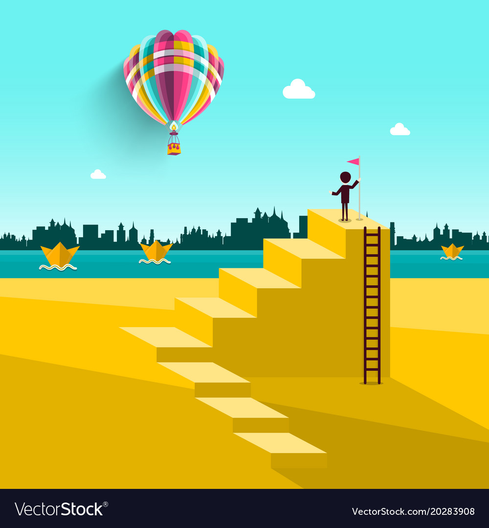 Abstract landscape with man on stairs and hot air vector image