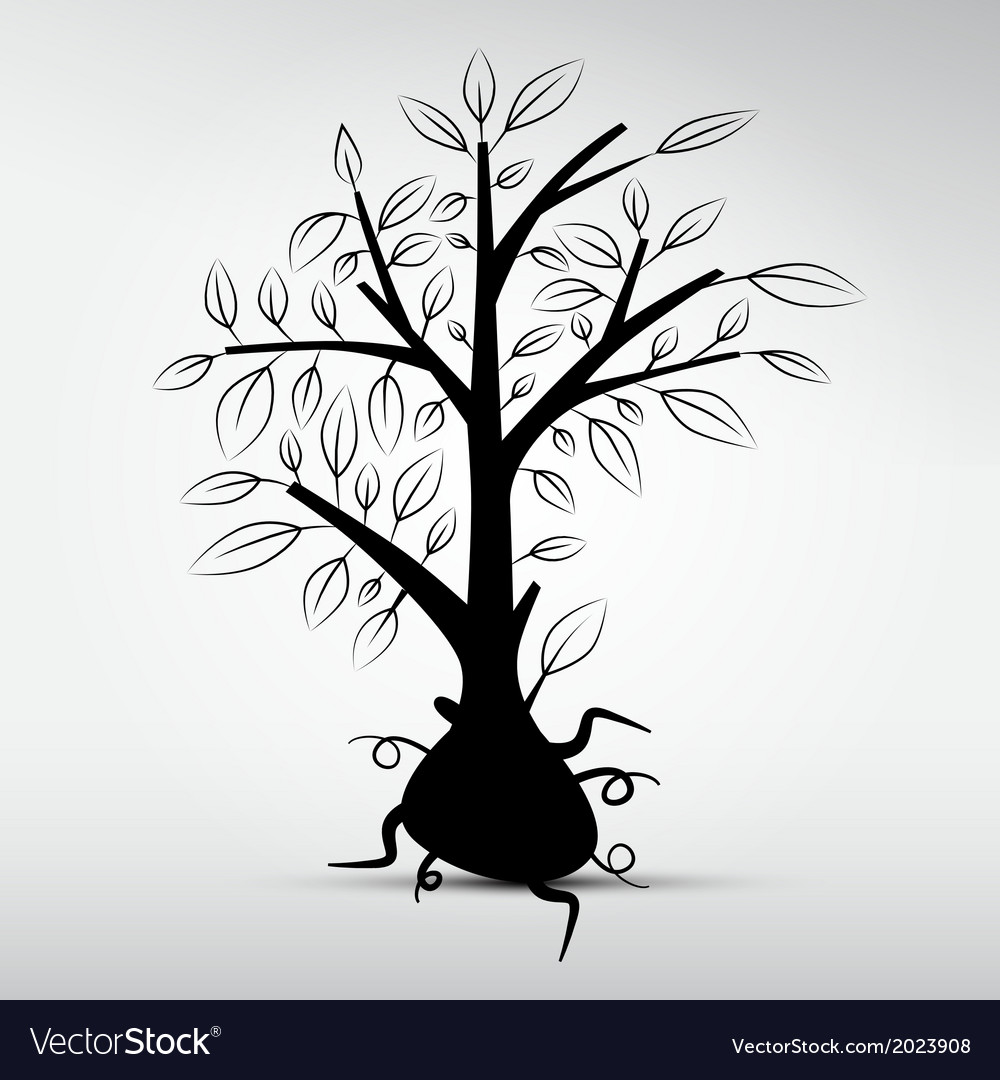 Abstract Tree Isolated on Grey Background